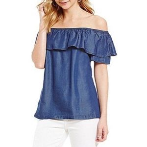 H Halston Ruffled Off-the-Shoulder Chambray Top
